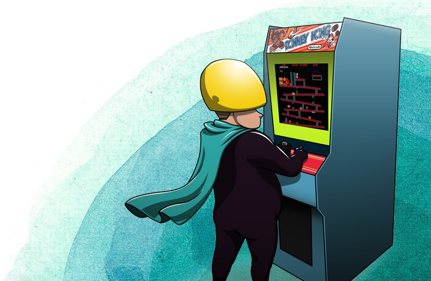 ionology character playing donkey kong representing the 8 steps to creating a digitally transformed organisation